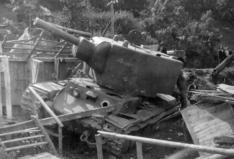 abandoned KV-2 Kliment Voroshilov heavy assault tank