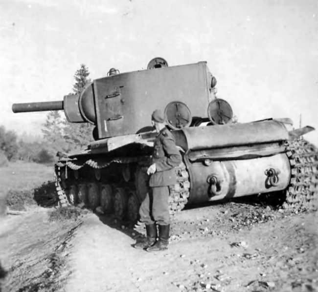 abandoned KV-2 heavy assault tank with the M-10 152 mm howitzer rear