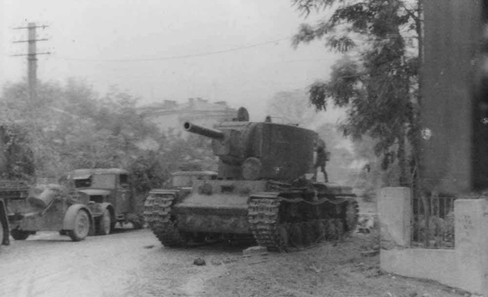 abandoned KV-2 tank on road 1941