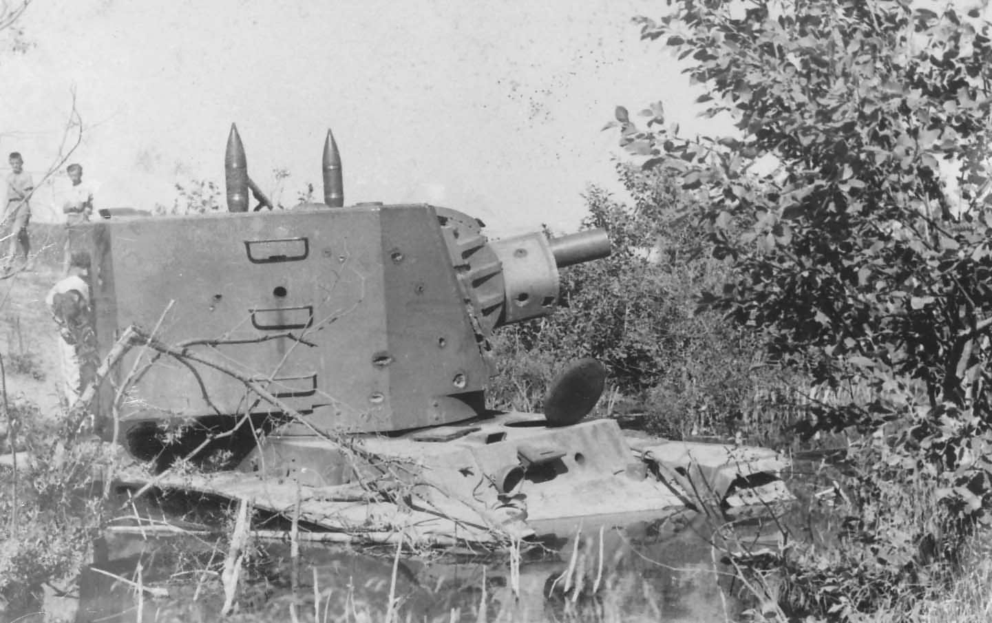 Early production heavy tank KV-2 (model 1940) with a bullet holes in its turret