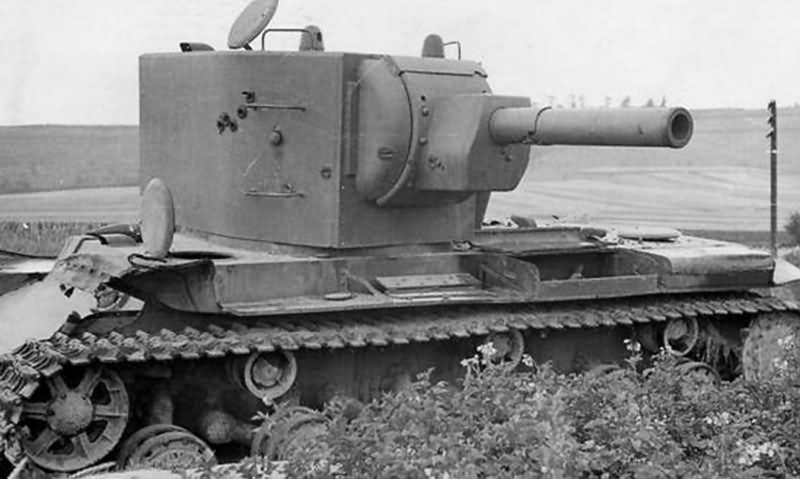 knocked out KV-2 heavy assault tank with the M-10 152 mm howitzer