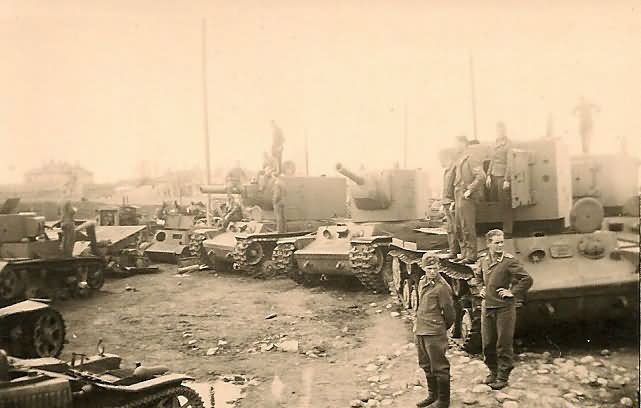 KV-2 heavy tanks abandoned by the Red Army in the summer of 1941