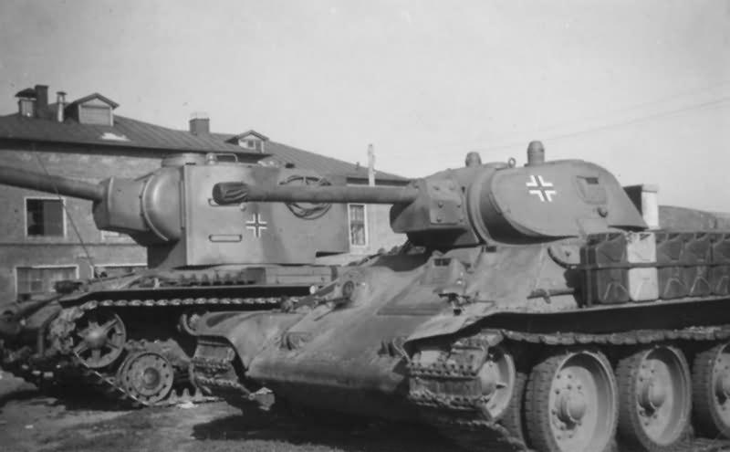 KV-2 and T-34 tanks in german service. Tanks of the Panzer-Kompanie z.b.V. 66