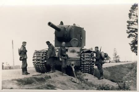 heavy tank KV-2 abandoned on the roadside and captured by the Germans forces