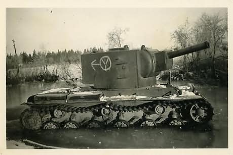 KV-2 heavy tank captured by the Germans – side of the turret is used as road sign