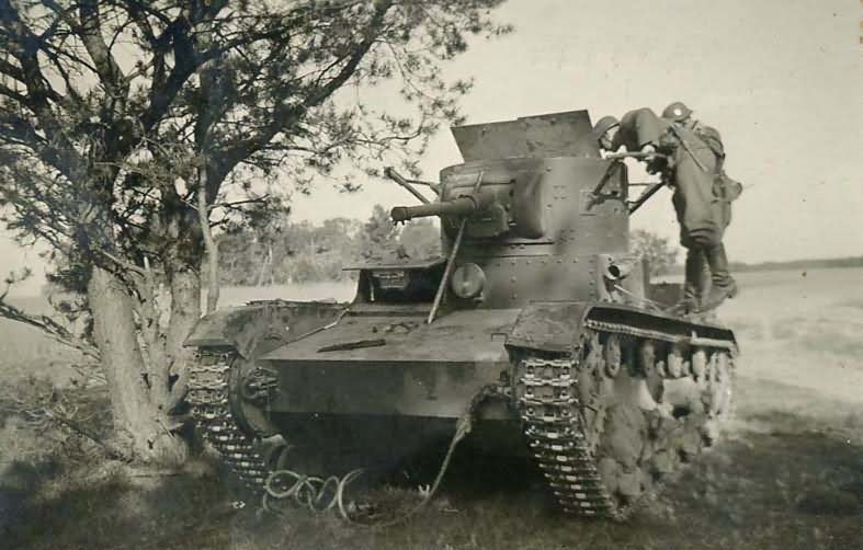 T-26 tank model 1933 abandoned during the Operation Barbarossa