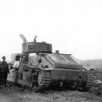 T-28 tank and german troops