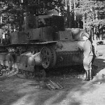 destroyed T-28 tank