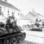 A column of T-34-85 tanks in 1945, Austria