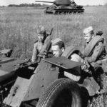 T-34-85 and 45 mm anti-tank gun 53-K
