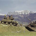 Soviet T-34/85 #924 and M4 Sherman #913 tanks color photo, Austria 1945
