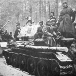 T-34/85 and russian troops on its way to the front