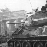 T-34-85 with bedspring armour Berlin 1945