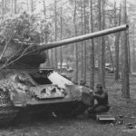 T-34-85 camouflaged in forest 1945
