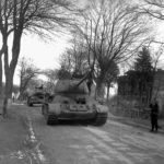 A column of T-34-85 tanks in 1945
