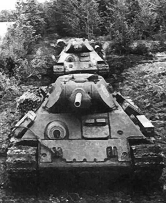 T-34 tanks with extra armour