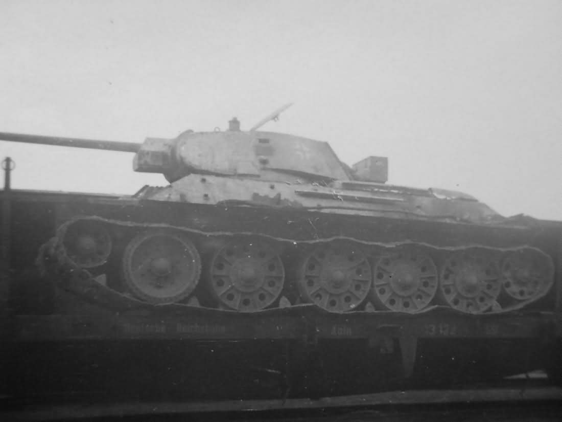 German T-34 76 on railroad car