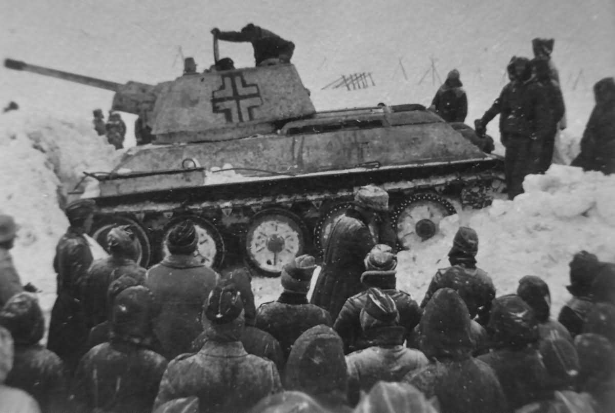 German T-34/76 tank with Hexagonal Turret winter camo