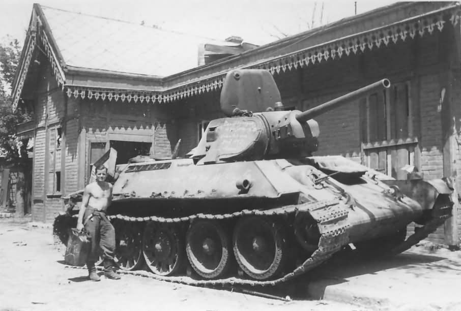 Soviet T-34 tank after capture by German forces, 1941-42
