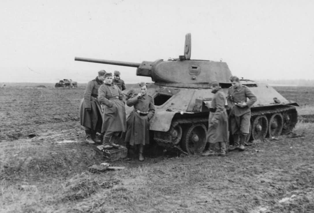 Soviet T-34 76 tank after capture by German forces