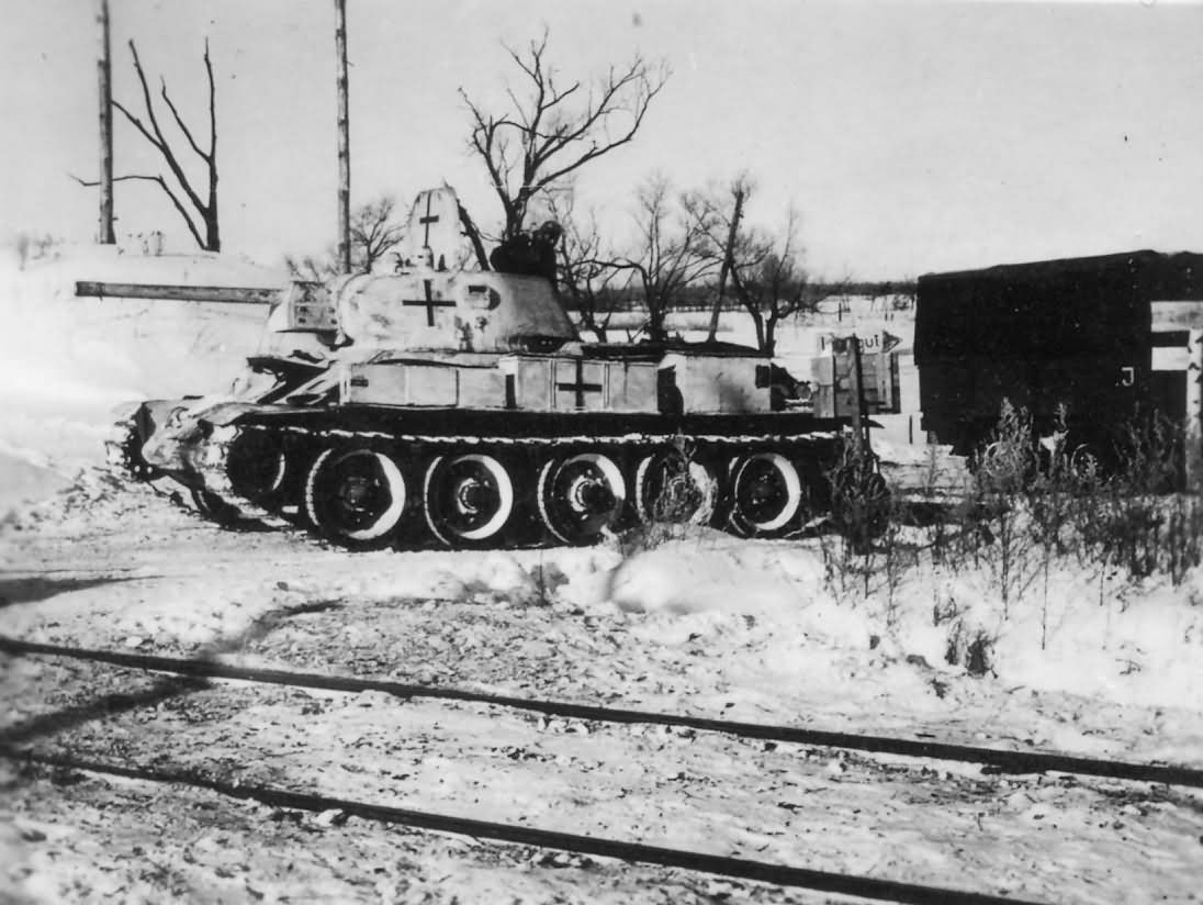 Soviet T-34 tank in German service winter camouflage