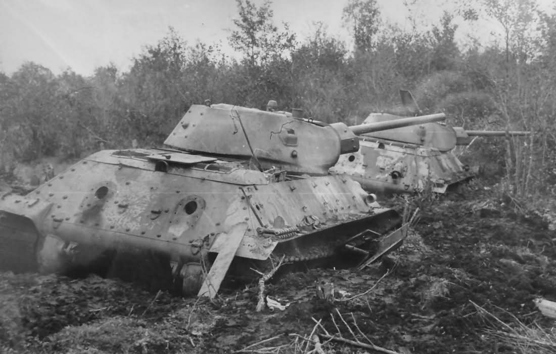 T-34/76 tanks in mud