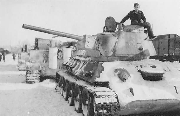 T-34 76 model 1943 and Tiger tanks eastern front in winter