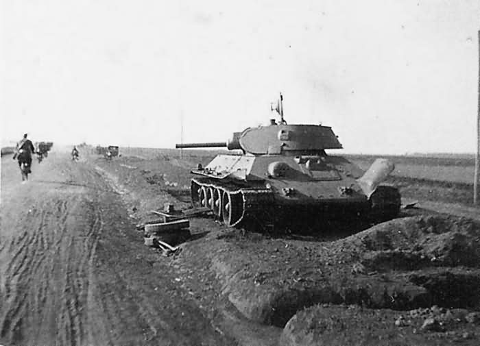 Knocked-out T-34 tank model 1940