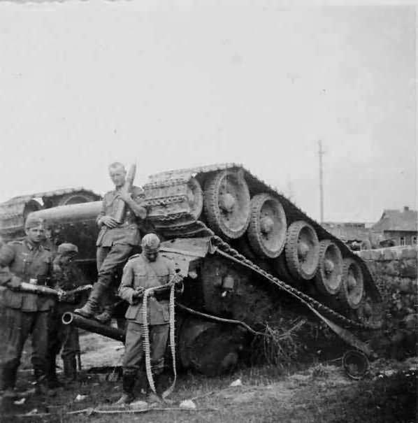 T-34 tank upside down