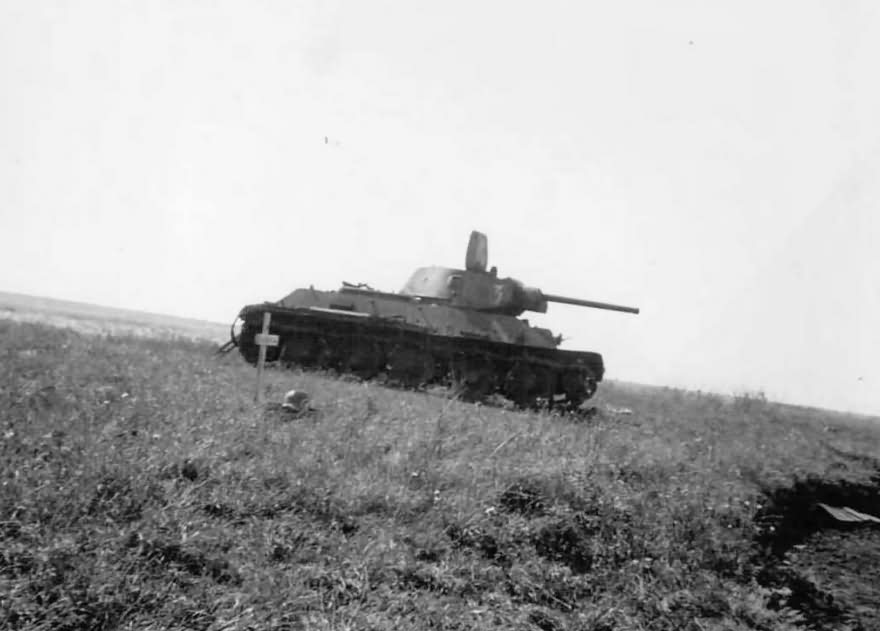 T-34 tank and grave