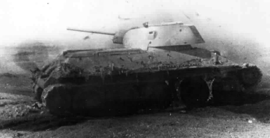 burned out tank T-34/76 manufactured at STZ