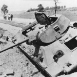 Knocked out soviet T-34/76 tank (model 1941)