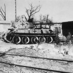 Soviet T-34 tank in German service winter camouflage