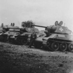 Soviet T-34 tanks of unknown Wehrmacht unit