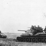 Soviet Troops atop T-34 Tanks During Fighting in Crimea