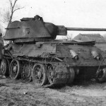 Burned out T-34 tank mod 1943 with cast hexagonal turret