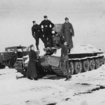 T-34 tank after capture by German forces, Winter 1942