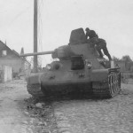 Frontal view of the abandoned soviet tank T-34 76 mod 1940