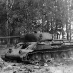 burned out soviet tank T-34/76