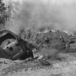 burning soviet tank T-34