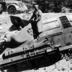 knocked out soviet tank T-34/76 model 1940 1941