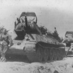 knocked out tanks T-34 abandoned by the Red Army in the summer of 1941