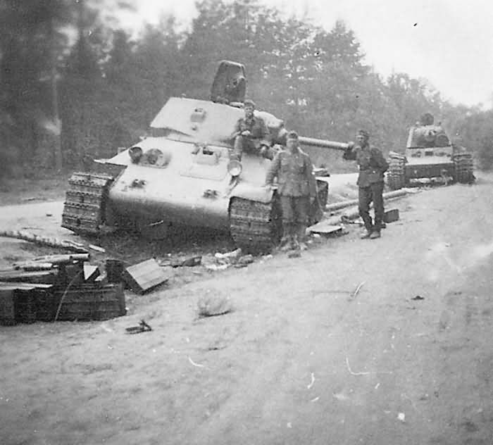 abandoned T-34 and KV-1 tanks