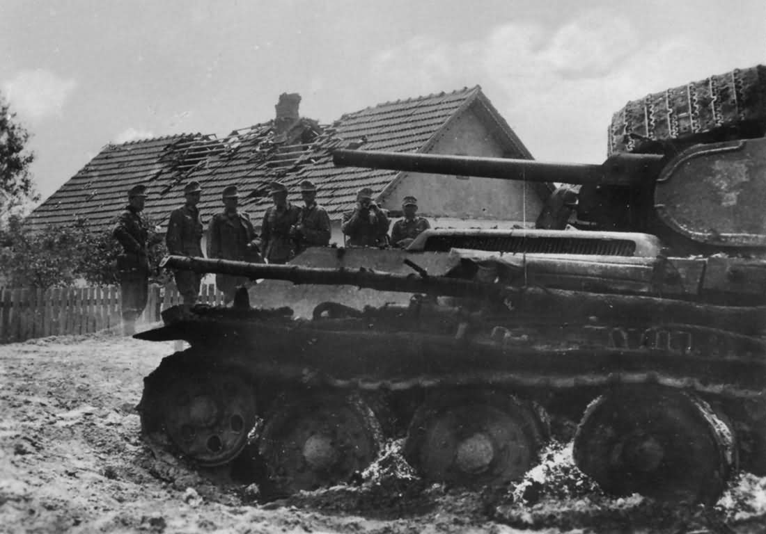 burned out soviet tank T-34 with welded turret
