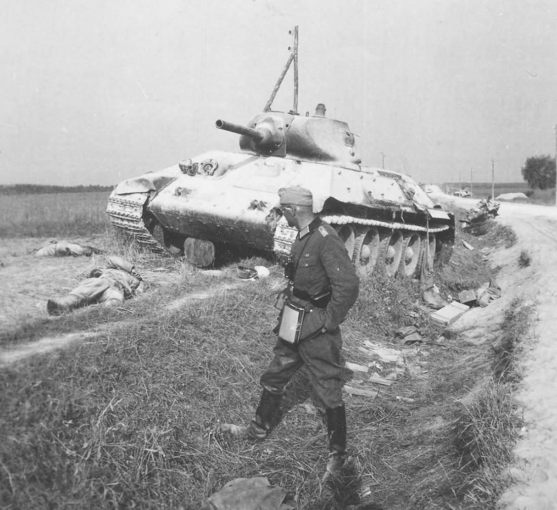 burned out soviet tank T-34/76 mod 1940
