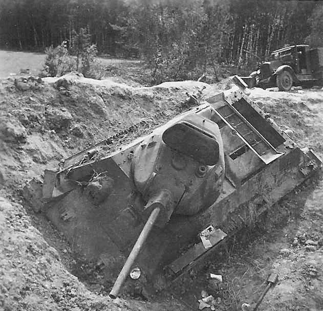knocked out soviet tank T-34
