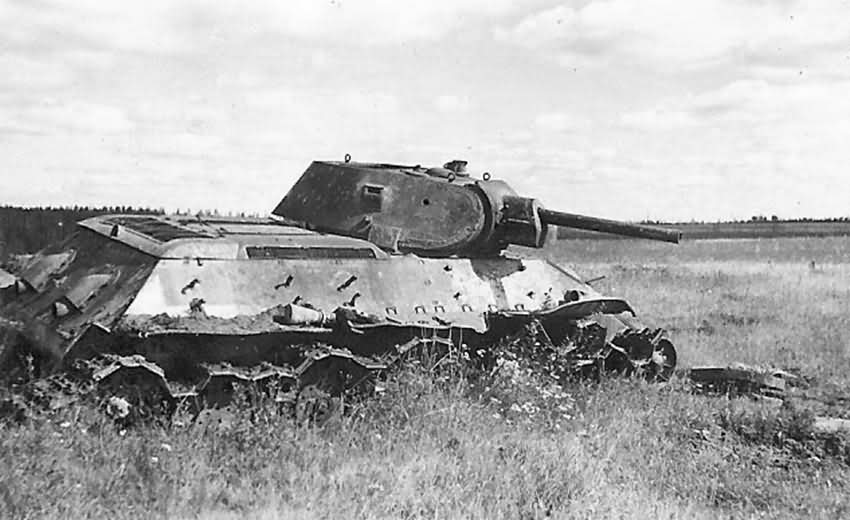 knocked out soviet tank T-34 2