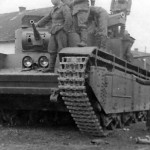 T-35 bandoned by its crew due to a malfunction – frontal view