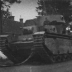 Tank T-35 abandoned by its crew due to a malfunction
