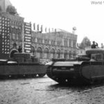 Tank prototypes on parade T-35 1 is on the right and T-35 2 is on the left